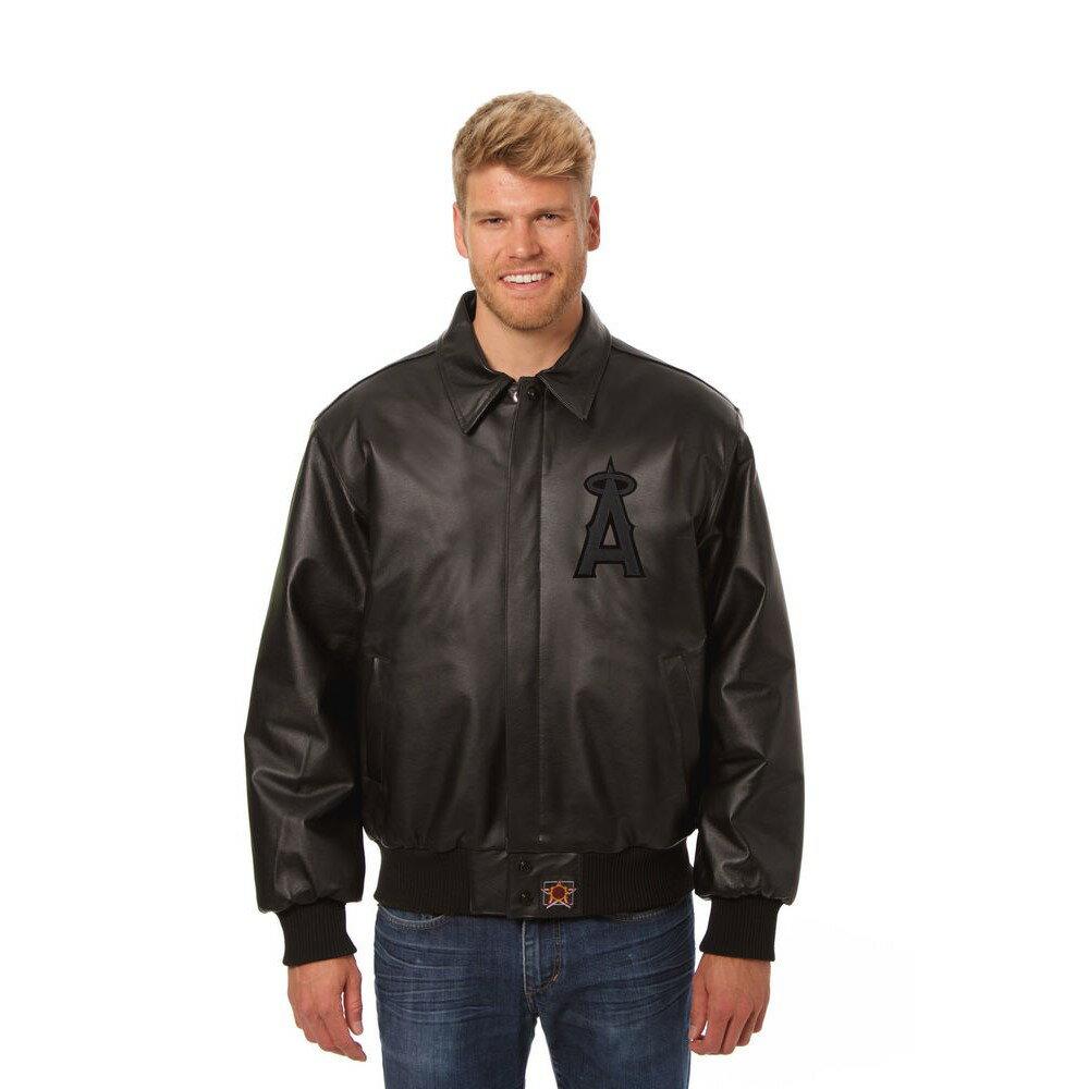 JH デザイン JH Design メンズ アウター レザージャケット【Los Angeles Angels of Anaheim Adult Leather Jacket】Black/Black