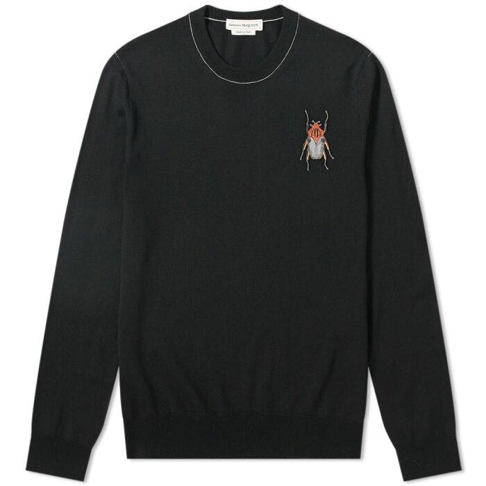 アレキサンダー マックイーン Alexander McQueen メンズ ニット・セーター トップス【beetle skull logo crew knit】Black/Ivory/Multi