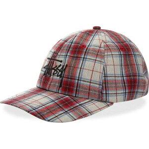 ステューシー Stussy メンズ 帽子 【Madras Plaid Big Logo Low Pro】Red