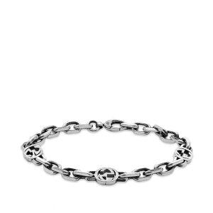 グッチ Gucci Jewellery メンズ ブレスレット ジュエリー・アクセサリー【Gucci Interlocking G Bracelet M】Aged Sterling Silver
