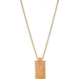 ヴェルサーチ Versace メンズ ネックレス ジュエリー・アクセサリー【Logo Pendant Necklace】Gold