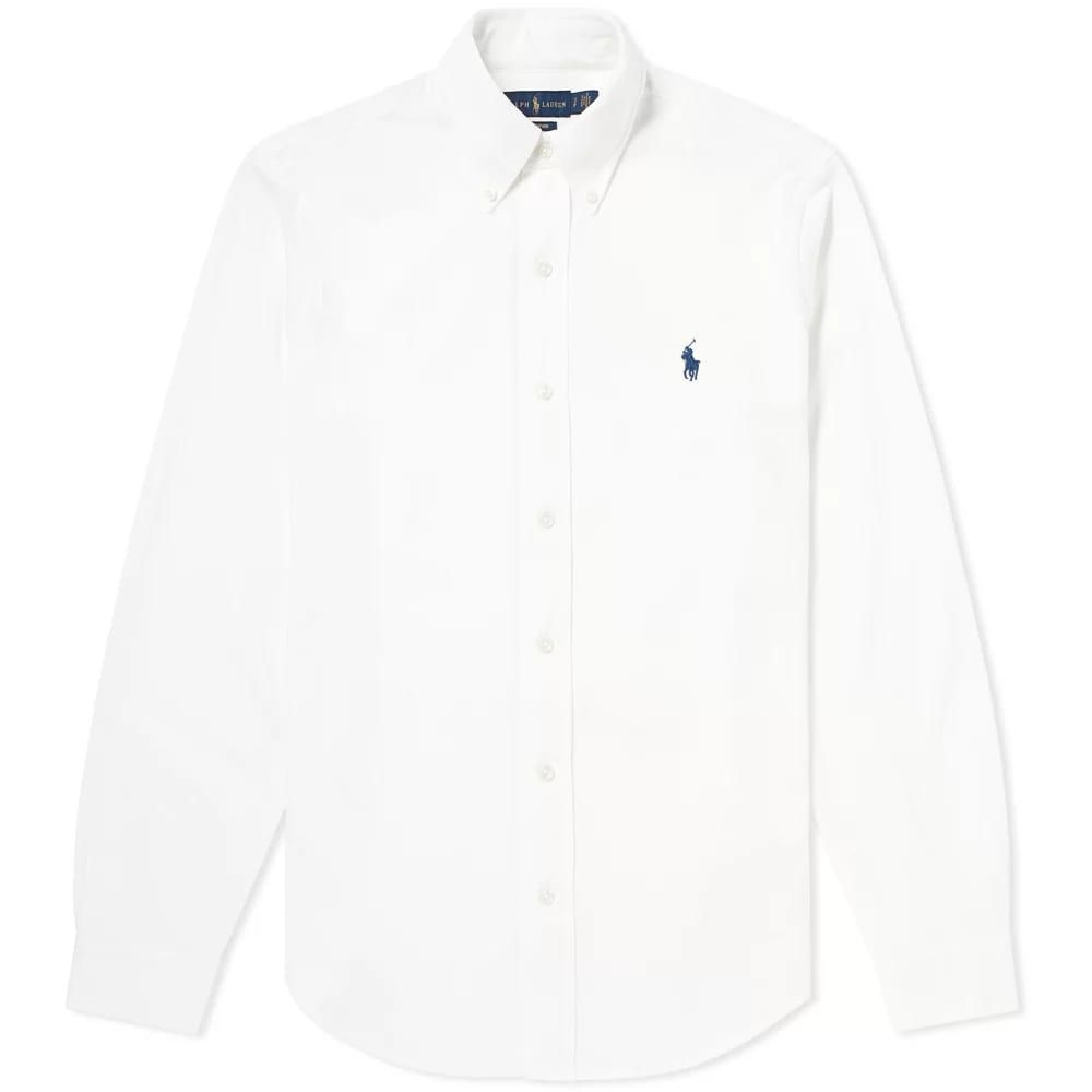 ラルフ ローレン Polo Ralph Lauren メンズ シャツ トップス【pique button down oxford shirt】White