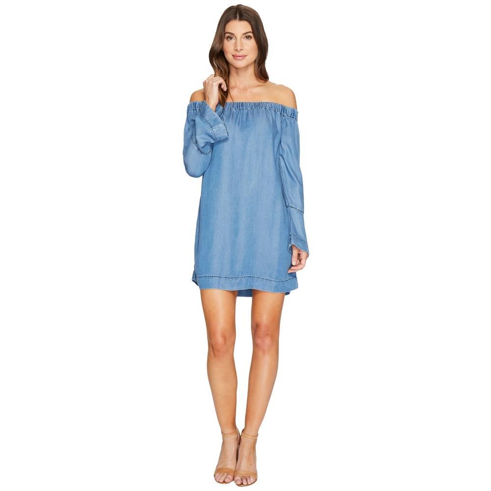 セブン フォー オール マンカインド レディース ワンピース・ドレス ワンピース【Bell Sleeve Off Shoulder Denim Dress in Bluestone】Bluestone:フェルマート