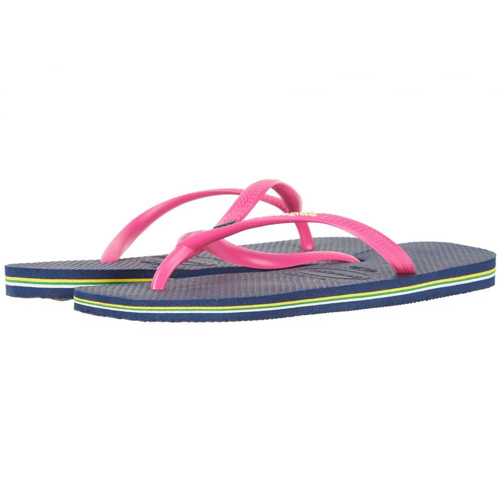 ハワイアナス レディース シューズ・靴 ビーチサンダル【Slim Brazil Flip-Flops】Navy Blue