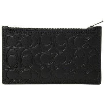 コーチ COACH メンズ カードケース・名刺入れ【Zip Card Case in Embossed Signature Leather】Black