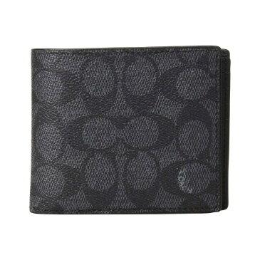 コーチ COACH メンズ 財布【Compact ID Wallet In Signature Canvas】Charcoal