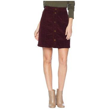 スリードッツ Three Dots レディース スカート【Corduroy Button Up Skirt】Port Wine