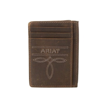 アリアト Ariat メンズ カードケース・名刺入れ【Fancy Scroll Toe Bug Card Case】Medium Brown Distressed