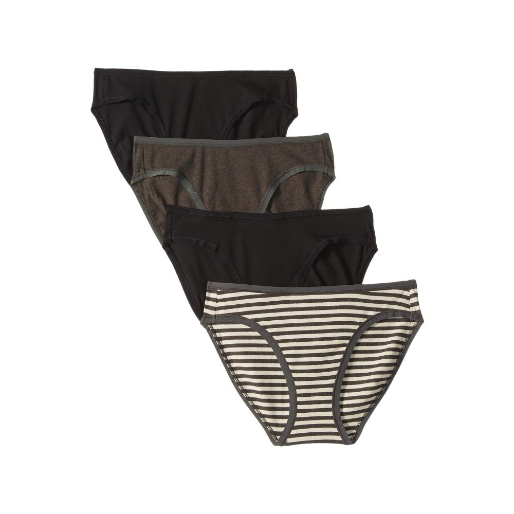 パクト PACT レディース インナー・下着 ショーツのみ【Organic Cotton Classic Fit Bikini 4-Pack】Black/Charcoal Stripe/Charcoal Grey