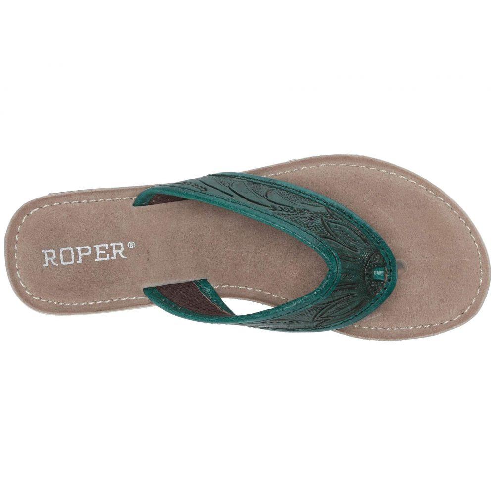 ローパー Roper レディース シューズ・靴 ビーチサンダル【Penelope】Turquoise Green Hand Tooled