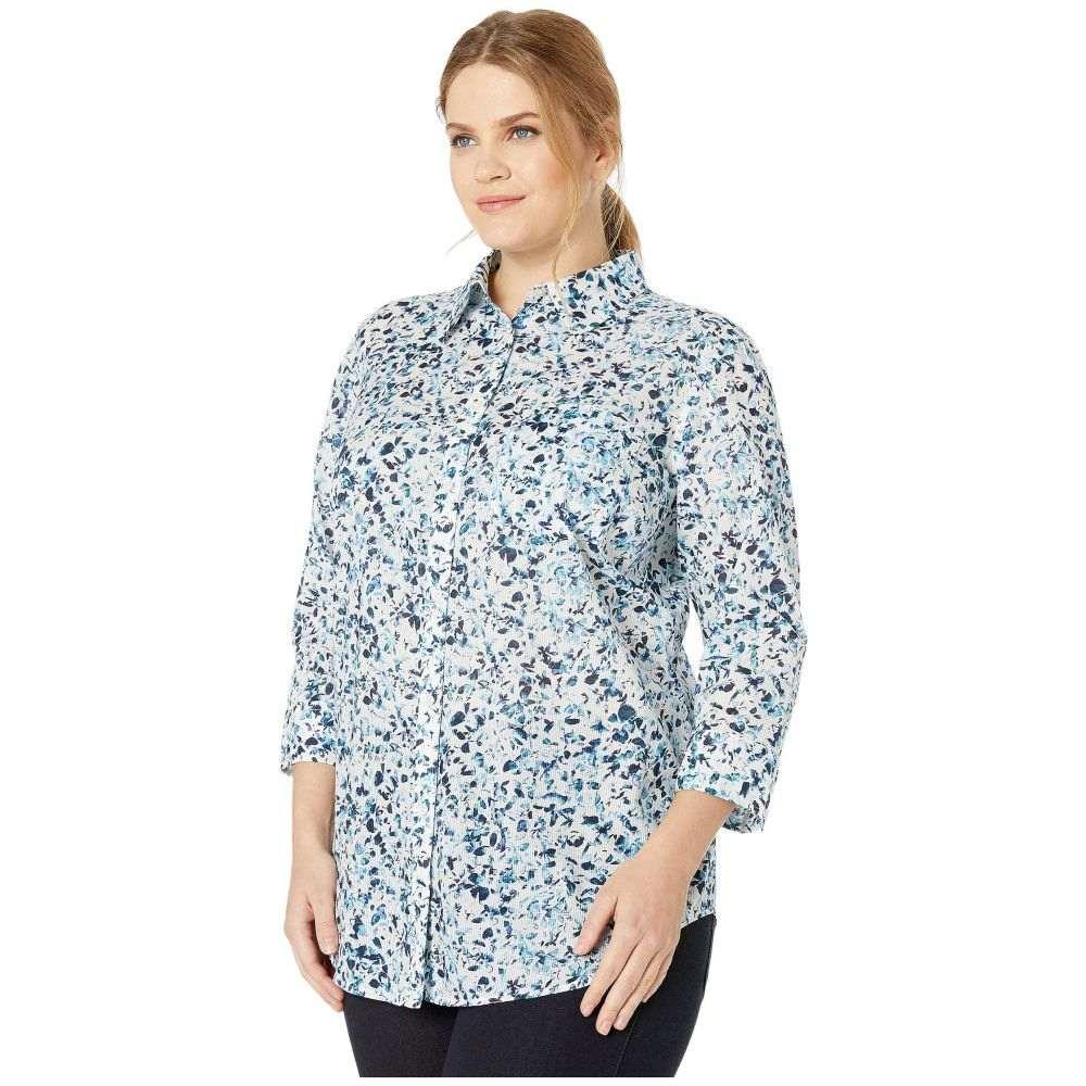 ラルフ ローレン LAUREN Ralph Lauren レディース トップス ブラウス・シャツ【Plus Size 3/4 Sleeve Floral-Print Cotton Shirt】Lauren Navy Multi