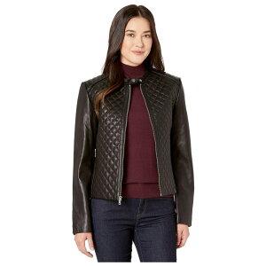 ラルフ ローレン LAUREN Ralph Lauren レディース レザージャケット アウター【Petite Quilted Leather Jacket】Black