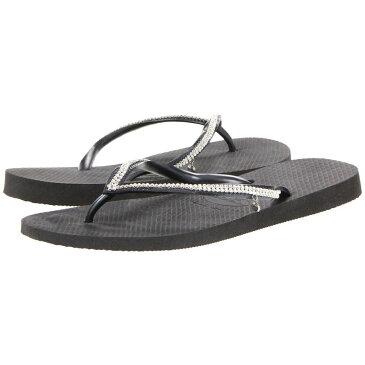 ハワイアナス Havaianas レディース ビーチサンダル シューズ・靴【Slim Crystal Mesh II Flip Flops】Black