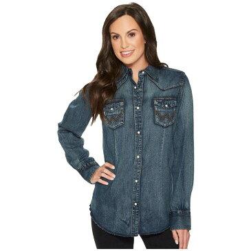 ラングラー Wrangler レディース ブラウス・シャツ ウエスタンシャツ トップス【Long Sleeve Snap Western Shirt】Denim