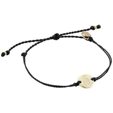 プラ ヴィダ Pura Vida レディース ブレスレット ジュエリー・アクセサリー【Pineapple Coin Bracelet】Gold Plated Pineapple Coin/Black String