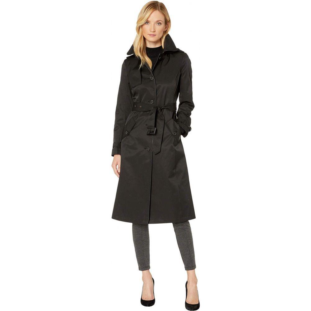 ラルフ ローレン LAUREN Ralph Lauren レディース レインコート アウター【Long Raincoat w/ Hood and Piping】Black