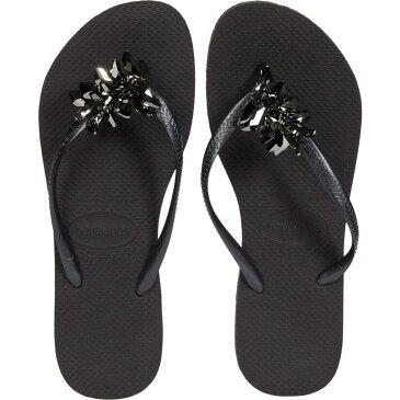 ハワイアナス Havaianas レディース ビーチサンダル シューズ・靴【Slim Crystal Minerals】Black