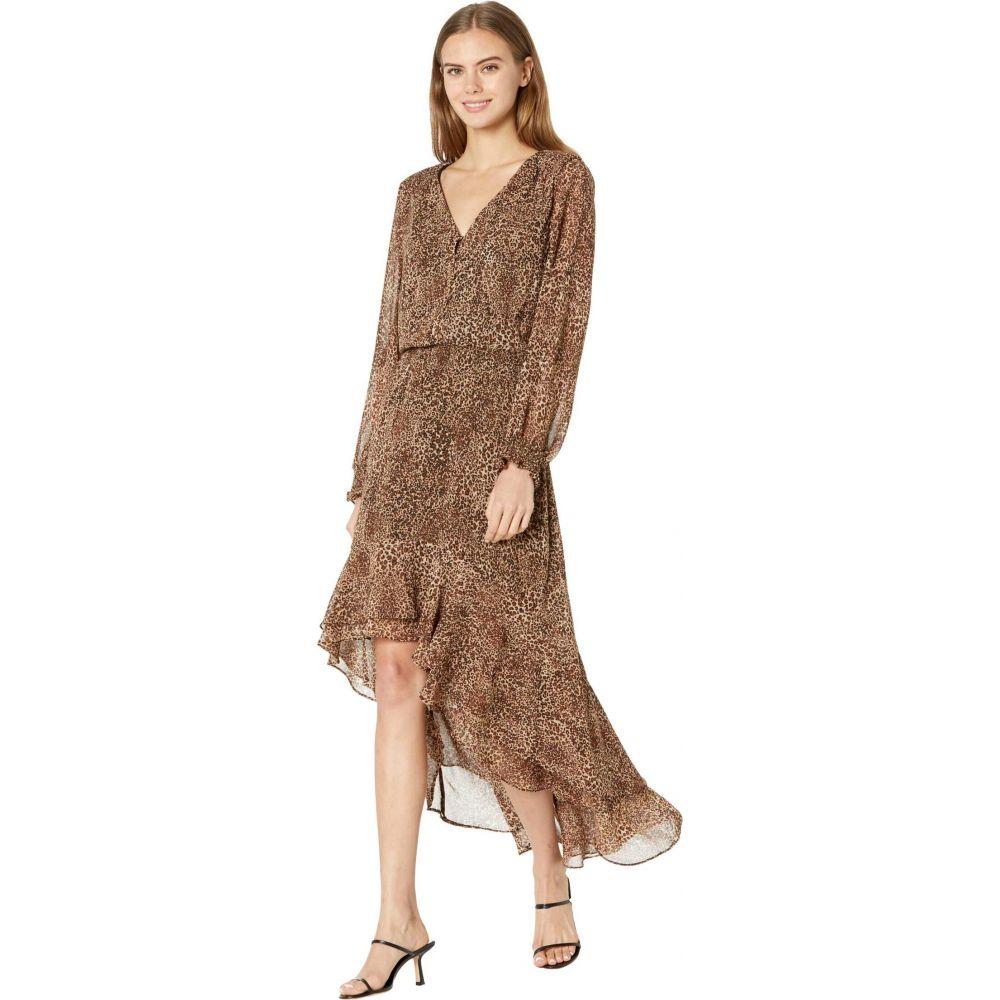 レディースファッション, ワンピース  1.STATE Long Sleeve Button Front High-Low DressLeopard Muses