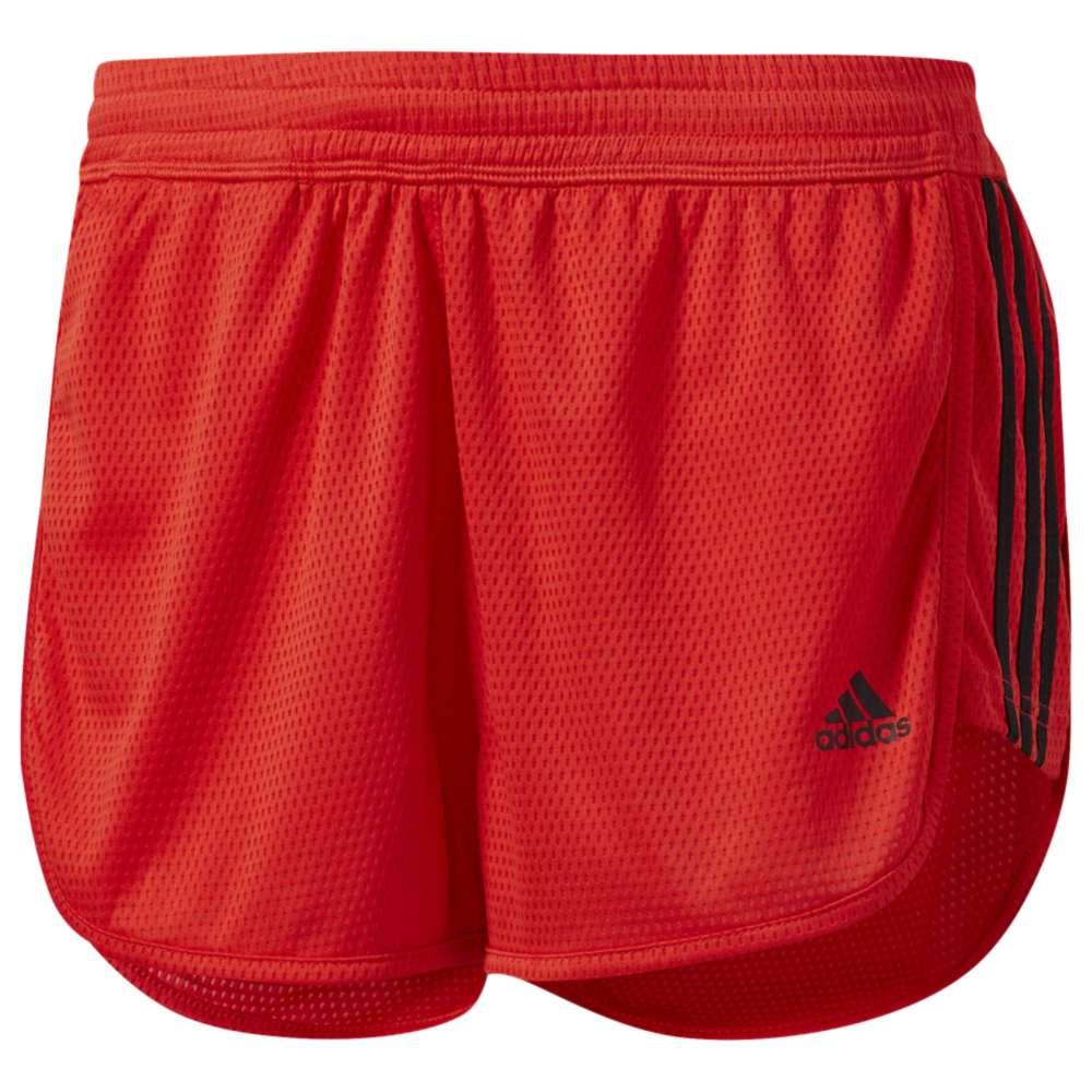アディダス レディース フィットネス・トレーニング ボトムス・パンツ【adidas Three-Stripes Knit Shorts】Core Red/Black