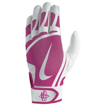 ナイキ メンズ 野球 グローブ【Huarache Edge Batting Gloves】White/Vivid Pink