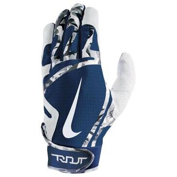ナイキ メンズ 野球 グローブ【Trout Edge Batting Gloves】White/College Navy/White