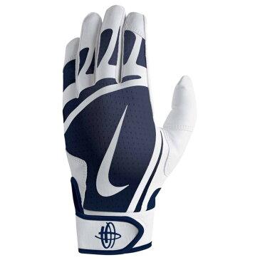 ナイキ メンズ 野球 グローブ【Huarache Edge Batting Gloves】White/College Navy