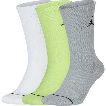 ナイキ ジョーダン Jordan ユニセックス バスケットボール 3点セット ジャンプマン【Jumpman Crew 3 Pack Socks】White/Grey/Green