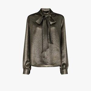 イヴ サンローラン Saint Laurent レディース ブラウス・シャツ トップス【mosaic lame pussybow blouse】metallic