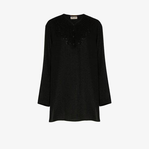 イヴ サンローラン Saint Laurent レディース チュニック トップス【embroidered voile tunic】black