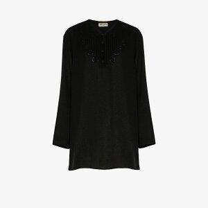 伊夫·圣洛朗(Yves Saint Laurent)女士长款上衣[刺绣薄纱外衣]黑色