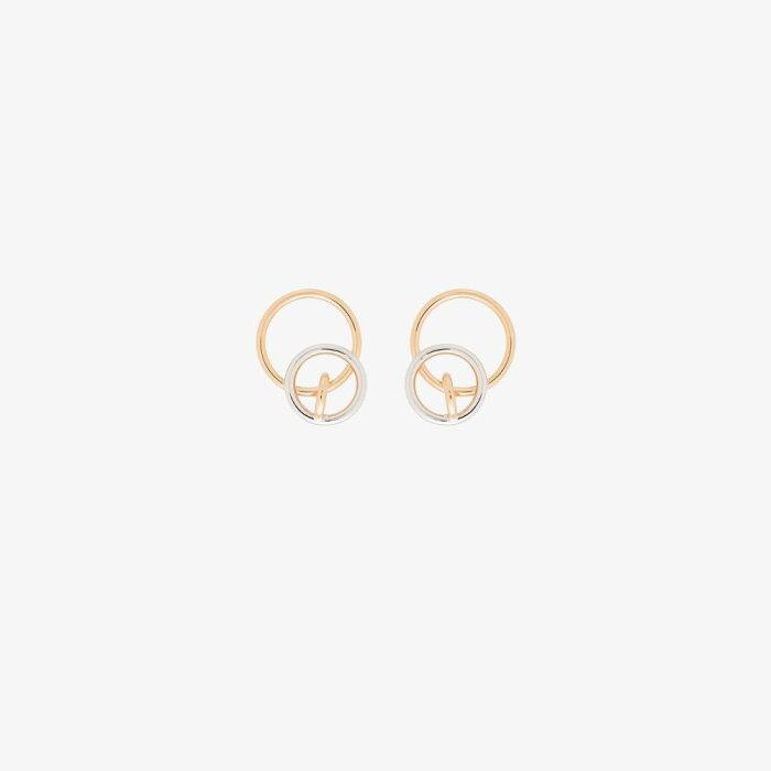 シャルロット シェネ Charlotte Chesnais レディース イヤリング・ピアス ジュエリー・アクセサリー【18K yellow gold vermeil and silver tone system hoop earrings】gold