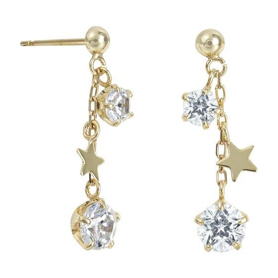 【Wish upon a star Twinkle】K10イエローゴールド キュービックジルコニア ピアス【送料無料】【festaria bijou SOPHIA フェスタリア ビジュソフィア】