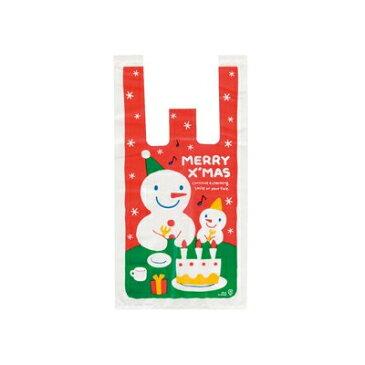 スノーマンレジバッグ-S 100枚 【クリスマスラッピング クリスマス 包装資材 ギフト用 プレゼント用】{レジ袋 雪だるま スノーマン}603[15/1102]