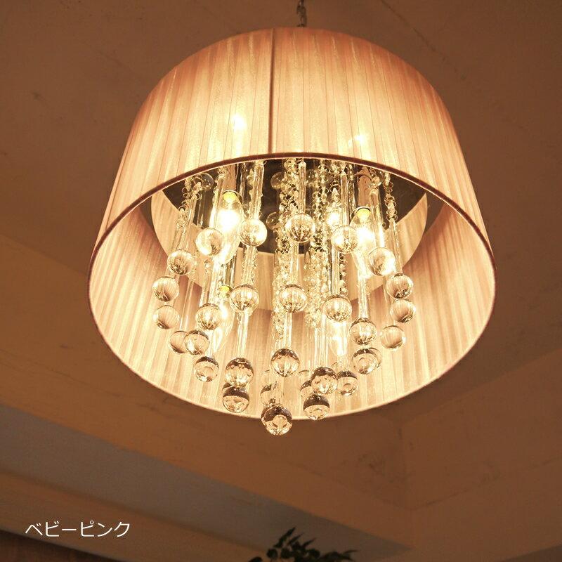 シャンデリア フローラシェード 4灯 ホワイト ベビーピンク