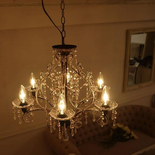 シャンデリア 6灯「ジュエル」( Jewel)ホワイトシャンデリア||シーリングライト/ホワイト/ブラック/リビング/ダイニング/姫系シャンデリア/6畳用/LED電球対応/シャンデリヤ