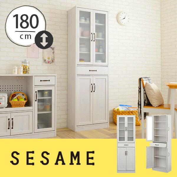 【楽天市場】送料無料♪楽天ランキング上位入賞!大容量の薄型食器棚。食器棚 スリム キッチン収納棚 幅58cm カップボード キッチンキャビネット シンプルでかわいい食器棚。おしゃれな部屋に★<LUFFY/LU180-60G>:セサミ・インテリア SESAME