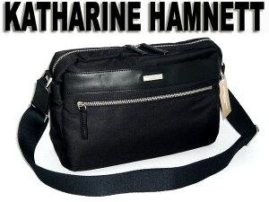 キャサリンハムネット 横型ショルダーバッグ 黒(ブラック)クロ KATHARINE HAMNETT 490-7040