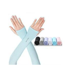 送料無料アームカバー夏UVカット手袋紫外線対策日焼け対策男女兼用冷感スポーツ車運転指穴タイプ