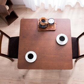 ダイニングテーブル3点セット幅75cm正方形ダイニングチェア2脚ダイニングセットナチュラル/ダークブラウン【送料無料】〔中型〕木製テーブル/ナチュラルダイニング/木目/ウォールナット/食卓用/ダイニングテーブル