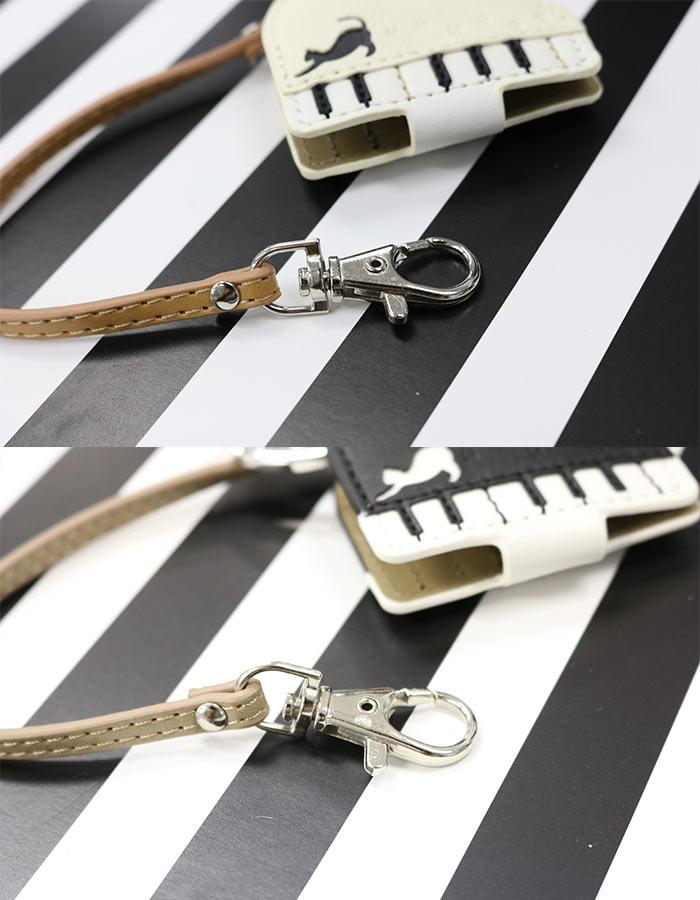 腕時計 懐中時計 バッグチャーム レディース ピアノ 猫 ルーペ付きウォッチ プチプラ フィールドワーク