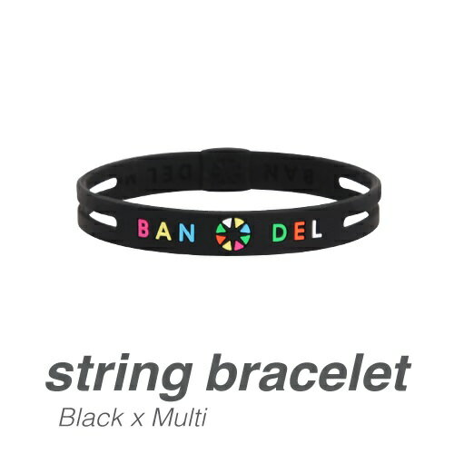 ブレスレット(ストリングシリーズ) BLACKxMULTI/Lサイズ ( #4580094432421 / JO10298051 )【 バンデル 】【QCA04】