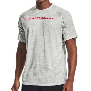 メンズ Tシャツ トレーニングシャツ スポーツウェア UAテック [ABC] カモ ショートスリーブ WHT/BEA 【UDR】
