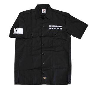 B系のストリートのメンズファッションの半袖ワークシャツ