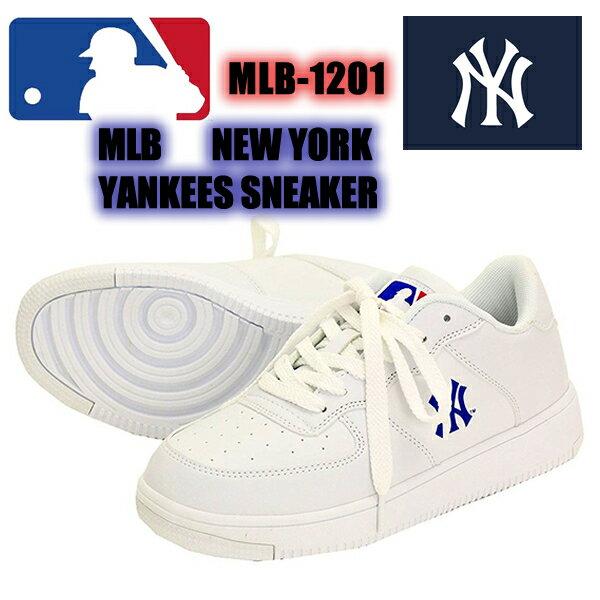 MLB 1201 New York Yankees メジャーリーグスニーカーローカット 1201 白 ホワイト ニューヨークヤンキース NY シューズ 靴 野球 軽い スポーツ ダンス メンズ レディース ファッション ストリート スケーター あす楽 即日発送 ヒップホップ 大きいサイズ画像