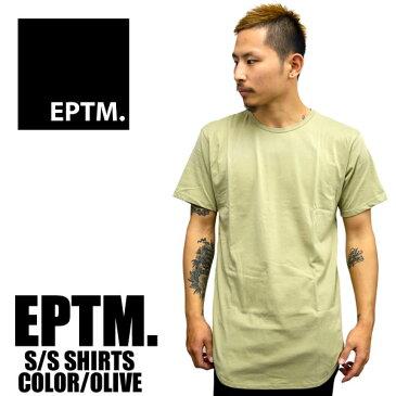 EPTM エピトミ 半袖Tシャツ ロング丈 無地 ラウンド型 メンズ ヴィンテージオリーブ レディース ファッション 大きいサイズ 白 ロング丈 夏物 春物