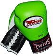 TWINS本革製ひも式ボクシンググローブ8ozライムグリーン×黒白