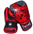 TWINS本革製ボクシンググローブウルフ8ozマジックテープ式黒レッド