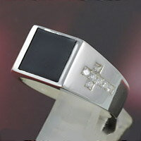 シルバー アクセサリー シルバーリング シルバー925 オニキス メンズ 指輪 ジルコニア クロス 十字架 シンプル