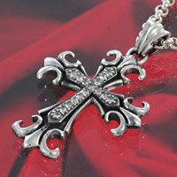 クロス ユリの紋章 シルバーアクセサリー メンズ シルバーペンダント ネックレス シルバー925 メンズアクセサリー 大きいサイズ 送料無料