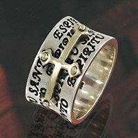 シルバーリング 指輪 silver925 真鍮 クロス 十字架 聖霊 ESPIRITU SANTO メンズ レディース アクセサリー シルバーアクセ メンズアクセサリー シルバー リング 大きいサイズ 送料無料